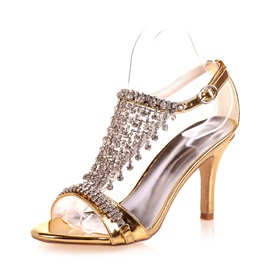 Metallic Rhinestone Heel Covering Sandals