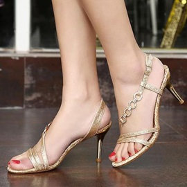 Rhinestone Open-Toe Heel Sandals