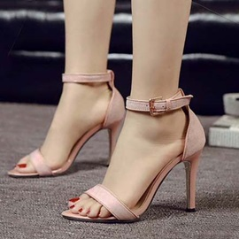 PU Open-Toe Stiletto Heel Sandals