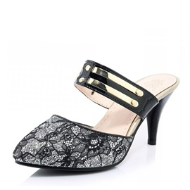 Lace Sequins Round Toe Slip-On Sandals