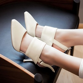 Solid Color PU Pointed Toe Sandals