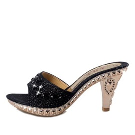 Rhinestone Awl Heel Slip-On Sandals
