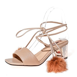 Pompom Open-Toe Chunky Heel Sandals