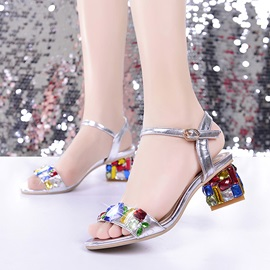 Diamond Chunky Heel Sandals