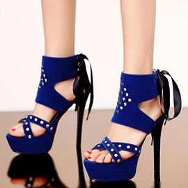 Studded Suede Lace-Up Stiletto Heel Sandals
