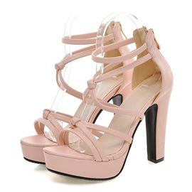 Solid Color PU Back-Zip Chunky Heel Sandals