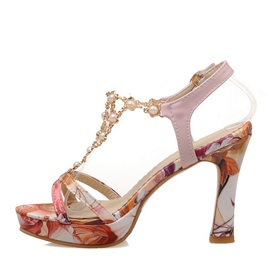 Beading Floral Printed Chunky Heel Sandals