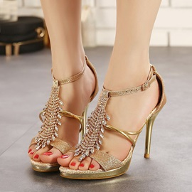 Jeweled T-Strap Stiletto Heel Sandals