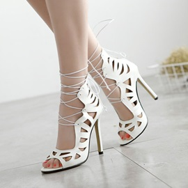 PU Hollow Peep-Toe Lace-Up Sandals
