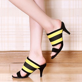 Striped Open-Toe Slip-On Sandals