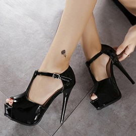 PU Peep-Toe T-Strap Pumps