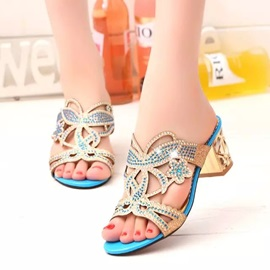 Rhinestone Hollow Chunky Heel Sandals
