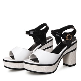 Color Block PU Chunky Heel Sandals