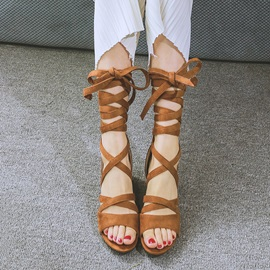 Suede Chunky Heel Lace-Up Roman Sandals