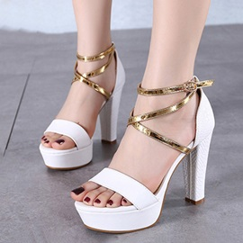 PU Ankle Strap Chunky Heel Sandals