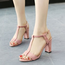 Solid Color T-Strap Chunky Heel Sandals