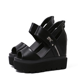Black Peep-Toe Zippered Wedge Sandals
