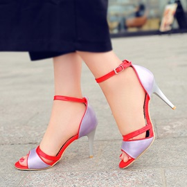 Color Block PU Ankle Strap Sandals