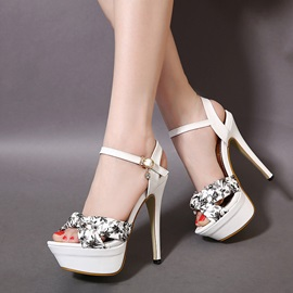 PU Printed Stiletto Heel Platform Sandals