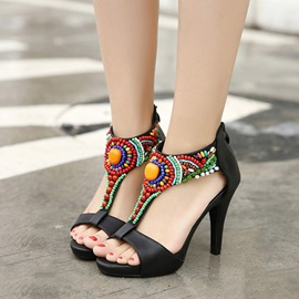 Boho Style Beaded T-Strap Sandals