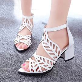 PU Cut-Out Chunky Heel Sandals