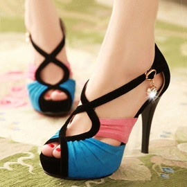 Color Block Peep-Toe Heel Sandals