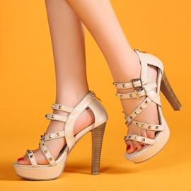PU Rivets Chunky Heel Buckles Sandals