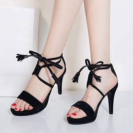 Solid Color PU Lace-Up Sandals