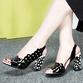 Polk Dots Printed Chunky Heel Sandals