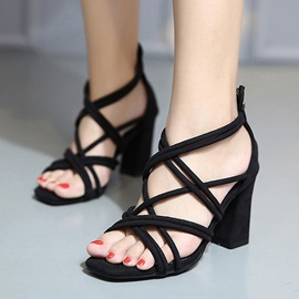 Strappy Chunky Heel Zippered Sandals