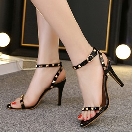 PU Rivets Stiletto Heel Sandals