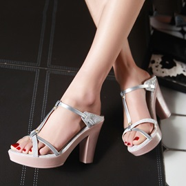 Strappy T-Strap Chunky Heel Sandals