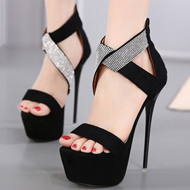PU Zipper Platform Rhinestone Stiletto Heel Women's Sandals