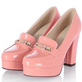 Elegant Metal Key-hole Chunky Heels Pink Shoes