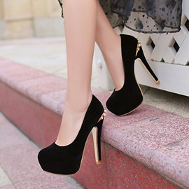 Studded Round-Toe Platform Prom Shoes
