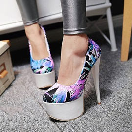 Floral Printed Stiletto Heel Pumps
