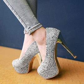 Sequins Slip-On Platform Pumps