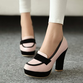 Contrast Color Platform Chunky Heel Pumps