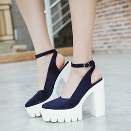 PU Lug Sole Ankle Strap Platform Pumps