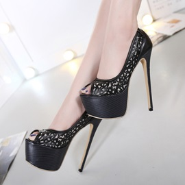 PU Cut-Out Peep-Toe Stiletto Heels