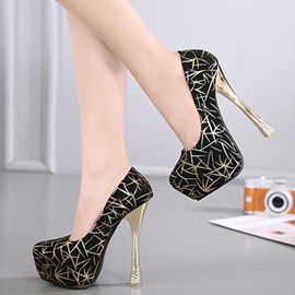 Printing Leather Slip-On Platform High Heel Women's Pumps