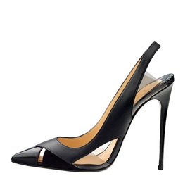 Black Pointed Toe Slingback Pumps