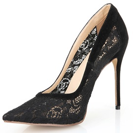 Black Lace Jacquard Point Toe Stiletto Heel Pumps