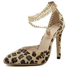 Sensual Leopard Pointed-toe Metal Chain Pumps