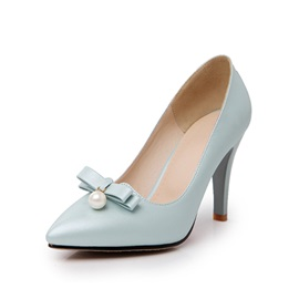 Cute Bowknot Decorated Solid Color Pointed Toe Pumps