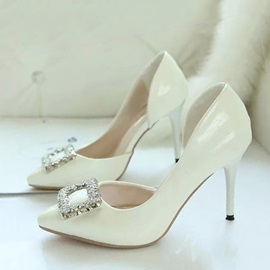 Rhinestone Studded Pointed Toe Work To Wear Pumps