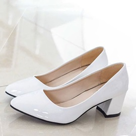 Solid Color Chunky Heel Women's Pumps