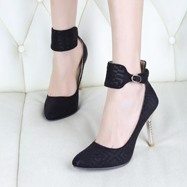 Wide Ankle Strap Pointed Toe Classic Pumps