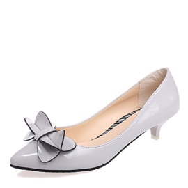 Solid Color Low-Heel Bowknot Classic Pumps