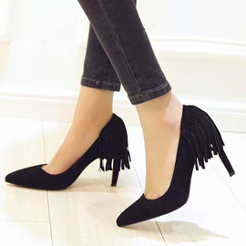 Suede Tassels Pointed Toe Classic Pumps